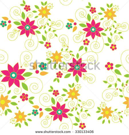 pattern of colorful daisies on a white background, leaves