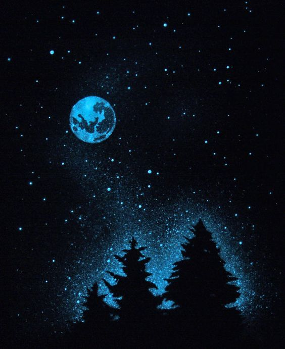 Glow In The Dark Stars COLD MOON Poster