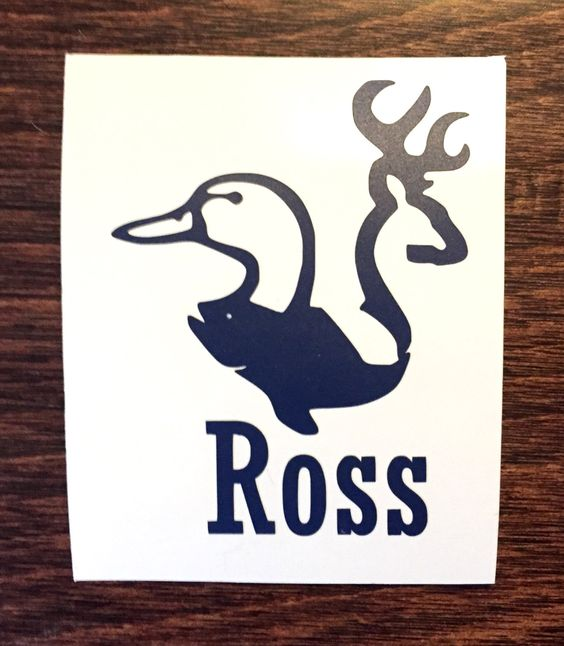 Fish deer and duck hunter monogram masculine decal sticker for Fishing yeti decal