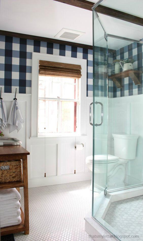 Adorable Farmhouse master bathroom renovation - That wall treatment <3
