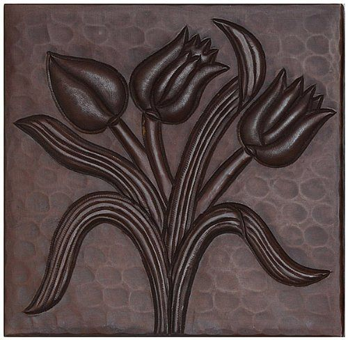 Hammered Copper Tile by Hammermarc. $7.50. New, smooth design on hammered copper tile. Tulips design can be applied as backsplash, accents in showers/baths and floors. Use anywhere a ceramic tile can be used. Hand Hammered Copper Tile. Sold Individually. Hand Hammered with ceramic tile backers.