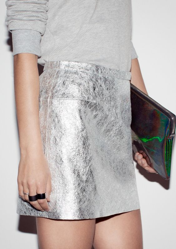 Leather sparkle Skirt | Silver | & Other Stories: