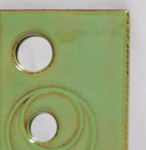 Peek-a-boo slim bright olive green ceramic by TheCuriousPotter