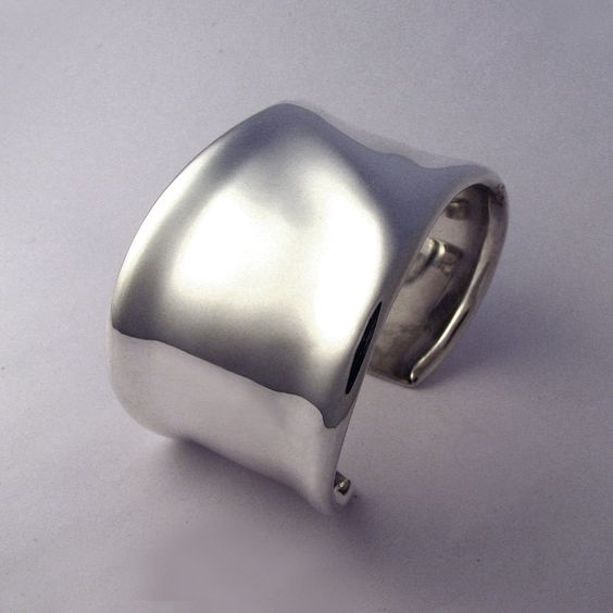 Silky Sterling Cuff Bracelet with Soft Ridge