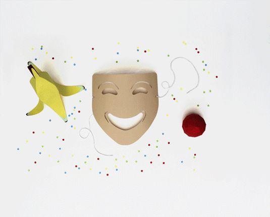 Gif animé des items du rire en paper toys - Réalisation en papier (Paper craft) - Les Fasces Nébulées