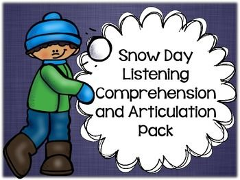 """Talk about a versatile pack! Target listening comprehension skills and articulation with this activity that includes 12 """"snow day"""" stories with listening comprehension questions and a list of targeted speech sounds. Targeted sounds include /r/, /s/, /l/, /sh/, /ch/, and /th/!"""