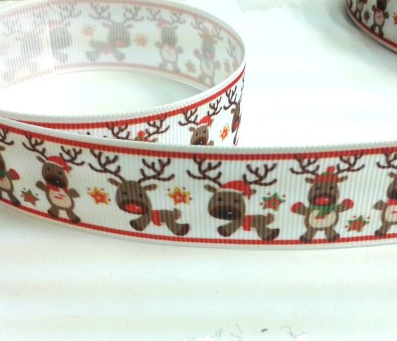 Christmas print grosgrain ribbon reindeer print 25mm wide1 meter piece £0.75