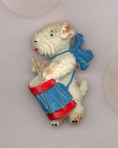 Celluloid White Scottie Dog w/Red & Blue Drum Pin