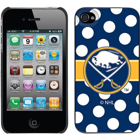 Coveroo, Inc. Buffalo Sabres Polka Dot iPhone 4 / 4S Thinshield Snap-On Case, Multicolor