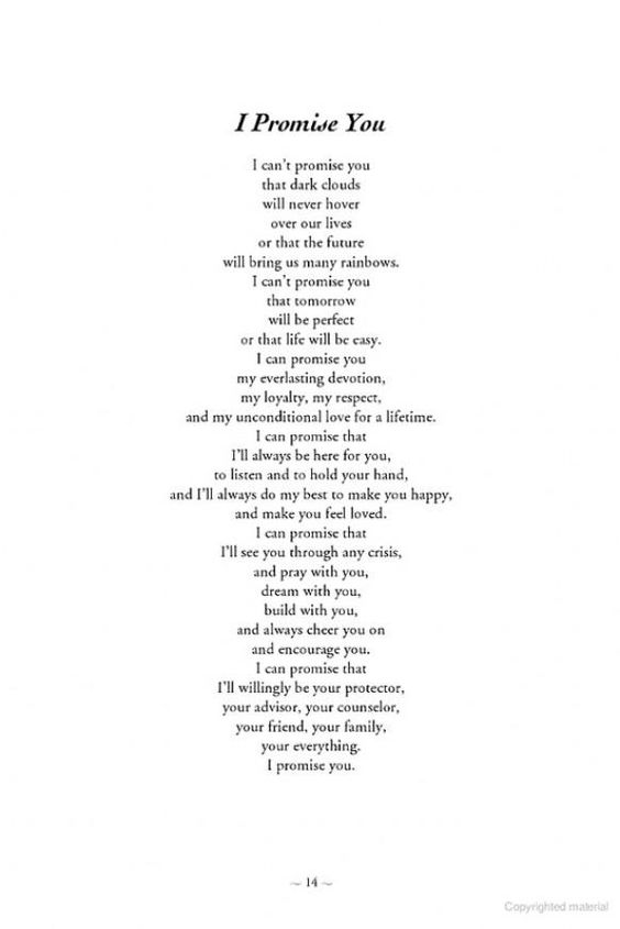 i promise you. Nice letter to give to your future spouse