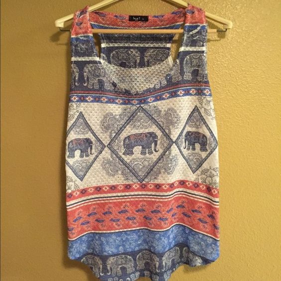 Adorable Elephant Tank  Love this shirt! Great elephant pattern! In great condition. Tops Tank Tops