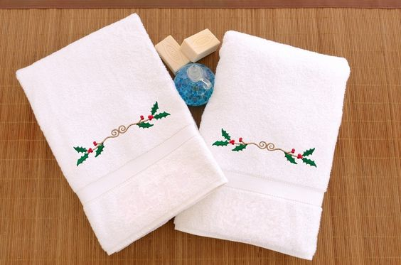 Holly Border Embroidered Hand Towel