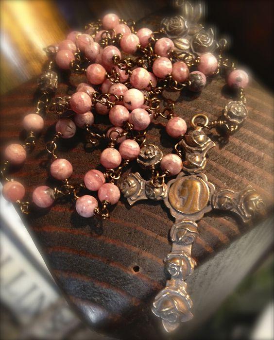 Rosary made from rhodochrosite and bronze. www.gailgirondesigns.blogspot.com  Catholic jewelry Rosary