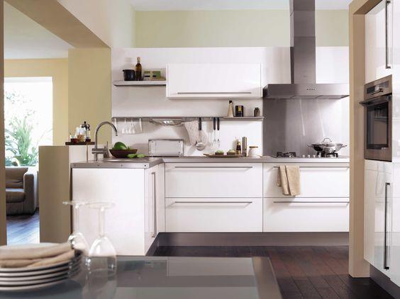 Cuisine city blanc brillant Interior Design - Kitchen Pinterest - cuisine blanc laque plan travail bois