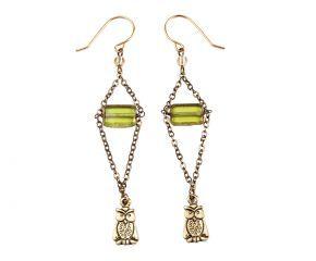 Orecchini in ottone con pendente Gufo - verde