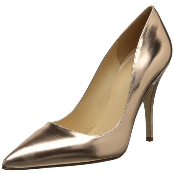 kate spade new york Women's Licorice Pump ($105) ❤ liked on Polyvore featuring shoes, pumps, leather shoes, leather footwear, leather pumps, metallic leather pumps and metallic shoes