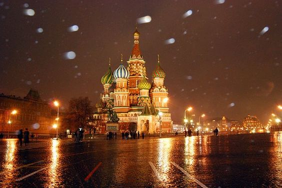 Snow falling on Moscow