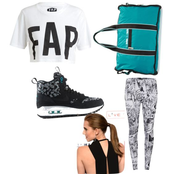 A fashion look from January 2015 featuring Filles à papa t-shirts, McQ by Alexander McQueen leggings and NIKE sneakers. Browse and shop related looks.