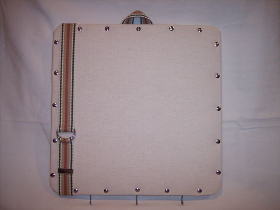 "14""x15"" Ivory Canvas covered Cork Memo Board & Keyholder by Marlo Custom Creations on ETSY"