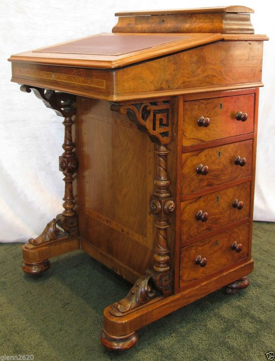 Antique davenport ship captain writing desk leather burl