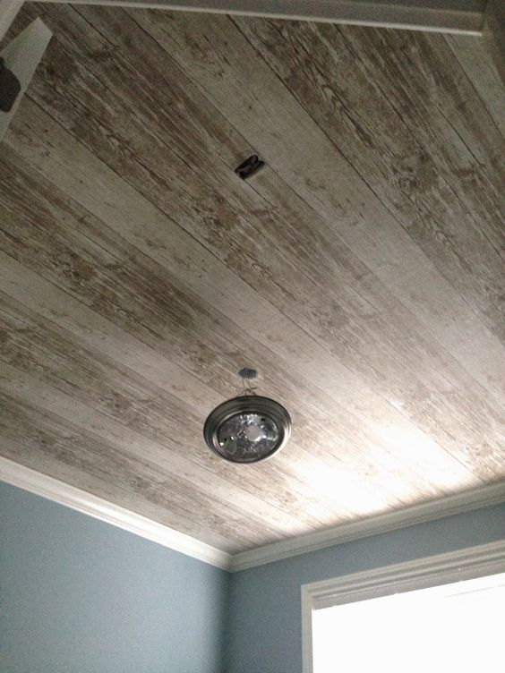 Be cool kitchen ceilings and plank ceiling on pinterest for Faux wood ceiling planks