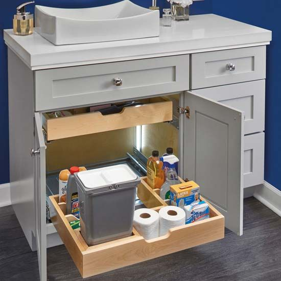 For Bathroom Vanity U Shape Under Sink Pullout Organizer With Blumotion Soft Close Slides By Rev A Shelf Kitchensource Com Rev A Shelf Bathroom Organisation Under Sink Organization