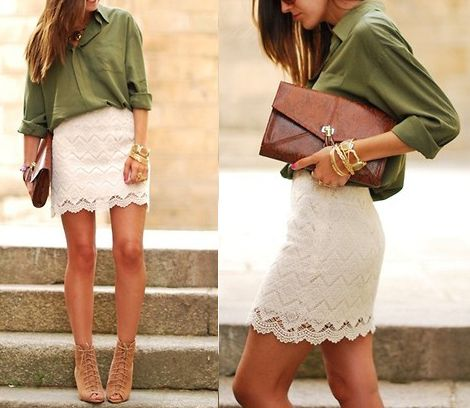 : Lace Green, Fashion Forward, Lace Skirt, Funky Fashions