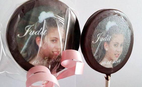Piruletas de Chocolate personalizadas con la foto de tu hijo, para su Comunión.