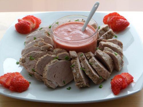 Porc, fraises