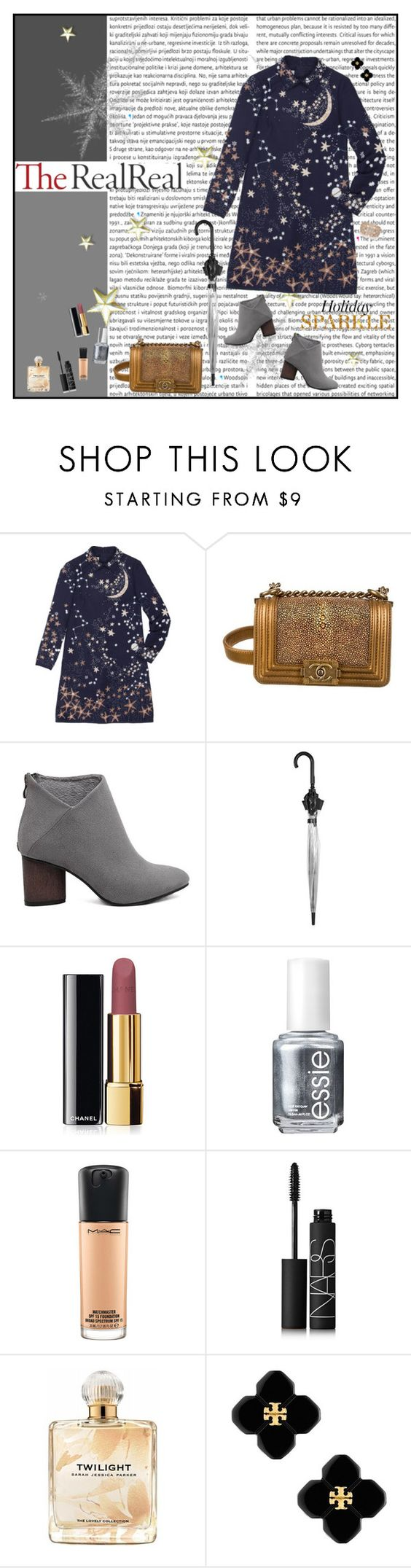 """""""#Holiday Sparkle With The RealReal"""" by hazell-jess ❤ liked on Polyvore featuring Valentino, Chanel, Topshop, Essie, MAC Cosmetics, NARS Cosmetics, Sarah Jessica Parker, Tory Burch and Oasis"""