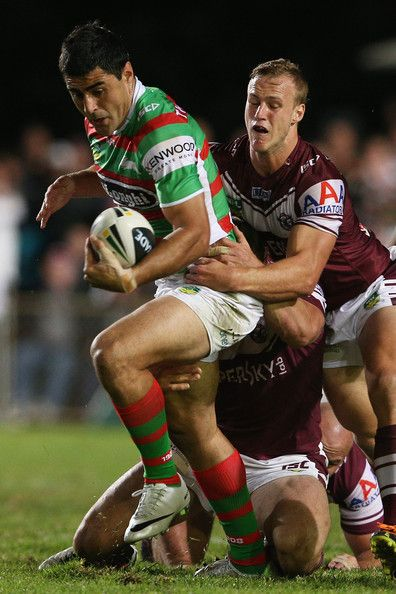 Bryson Goodwin of the Rabbitohs is tackled during the round seven #NRL match between the Manly Sea Eagles and the South Sydney Rabbitohs at Brookvale Oval on April 26, 2013 in Sydney, Australia.