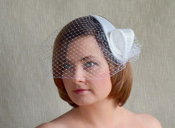 White Bridal Fascinator with Birdcage Veil  by Rubina Millinery #bridal #millinery #rubinamillinery