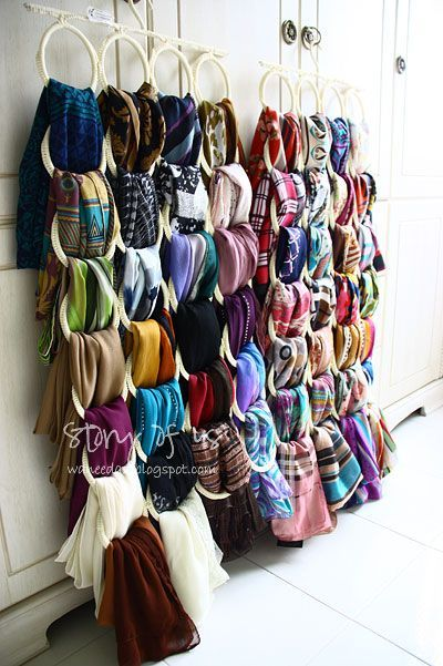 IKEA scarf hanger to organize your scarves. I think I might buy another one to organized my belts.