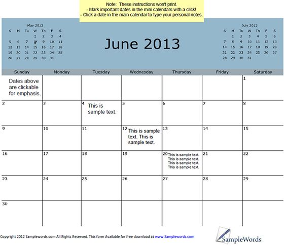 Calendar View June : Monthly calendars current year calendar and