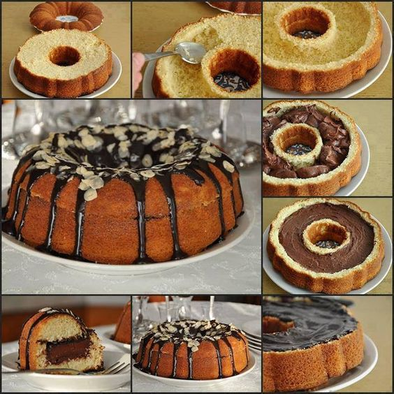 Cake With Chocolate Filling And Chocolate Glaze Bolo Surpresa