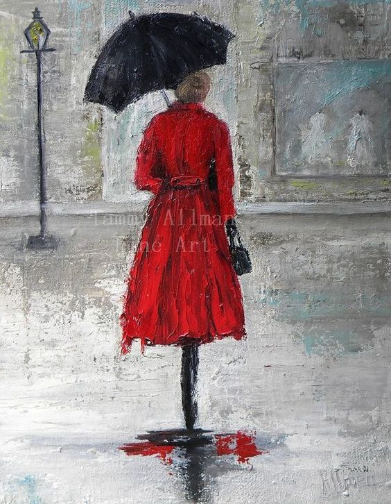 walking in the rain paintings in acrylic - Google Search