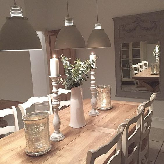 Emma jane shabby and neutral palette on pinterest for Long dining table decor