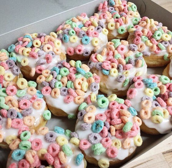 Fruit loop covered donuts  I think?