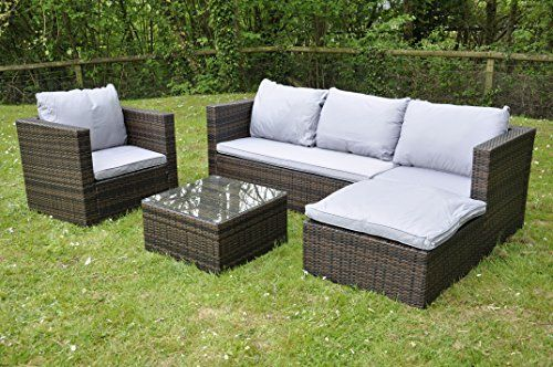 Bigzzia Rattan Modular Corner Sofa Set Bahamas 5pc Garden Corner Sofa Includes Cushio Rattan Furniture Set Corner Sofa And Coffee Table House And Home Magazine