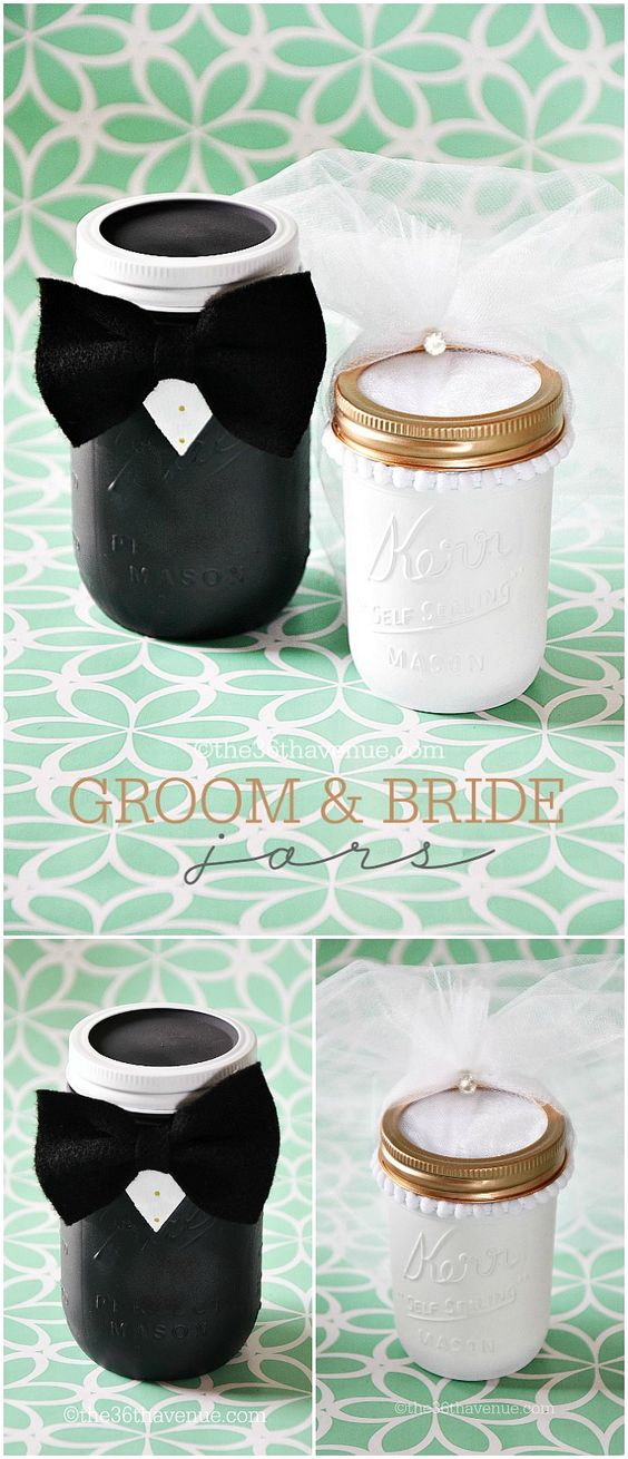 Diy Wedding Gift Ideas For Bride And Groom : ... DIY Groom and Bride Jars at the36thavenue.com Cutest wedding gift ever