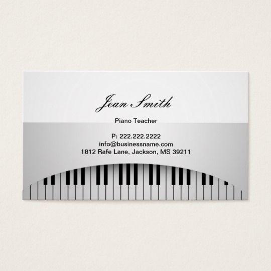 Piano Teacher Pure White Piano Keys Music Business Card Zazzle Com Music Business Cards Teacher Business Cards Piano Teacher