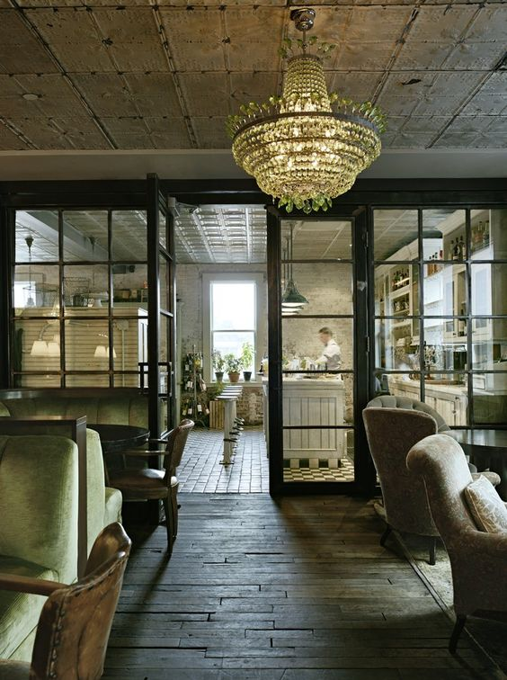 Soho House | New York: I wish this was more contemporary or modern compared to that touch of shabby chic farmhouse look. I think its rustic enough with the ceilings, windows and floors, and kitchen bench.