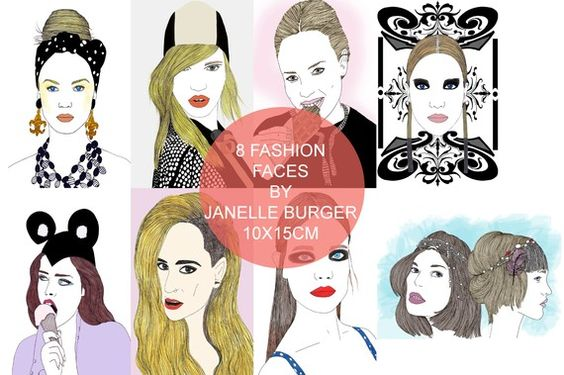SALE 8 Fashion Faces by JanelleBurger on Etsy