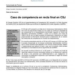 Comunicado de Prensa C.13-09 Antiguo Cuscatlán, 24 de febrero de 2009 Falta de información. Caso de competencia en recta final en CSJ El Consejo Directivo (. http://slidehot.com/resources/caso-de-competencia-en-recta-final-en-csj.12904/