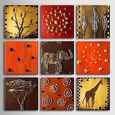 pintado+à+mão+pintura+a+óleo+animal+com+quadro+esticado+-+conjunto+de+nove+–+BRL+R$+457,16