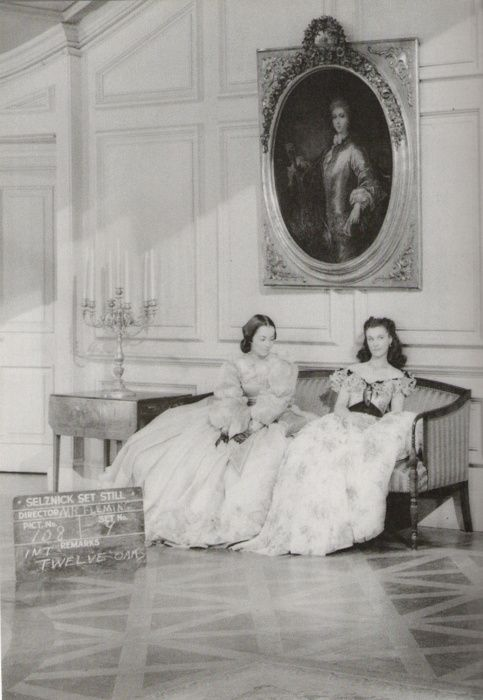 Olivia de Havilland and Vivien Leigh on the set of Gone with the Wind in 1939