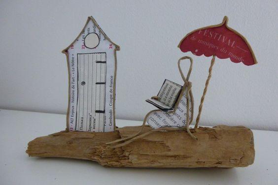 Les vacances d'été à la plage - figurine en ficelle et papier : Accessoires de maison par ficelleetpapier