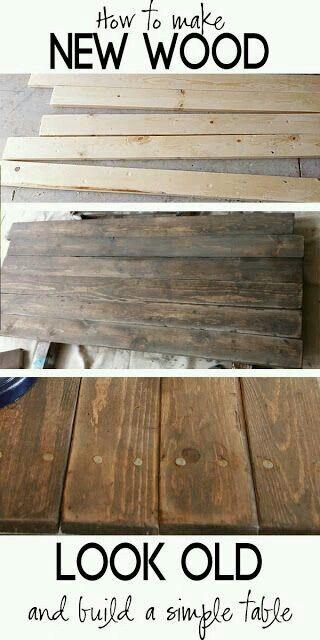 Añejar madera: Primero realizar marcas profundas sobre la superficie lisa, con clavos, tornillos, martillo, golpes y rayones. Segundo...lijamos poquito para sacar astillas. Tercero...aplicamos betun de judea. Cuarto y ultimo...aplicamos barniz. Si queres dejar una superficie lisa al tacto volver a pasar lija (una de nunero alto como 1200) para quitar desperfectos...y luego aplicamos otra capa de barniz. ( entre mano de barniz dejar secar 24hs).