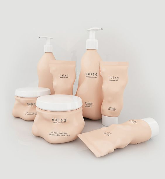 Intimate care products packaging concept - The most gentle and delicate cosmetics are intimate care products. Reflecting the character of its contents, the package also stands all naked before you having nothing to hide.