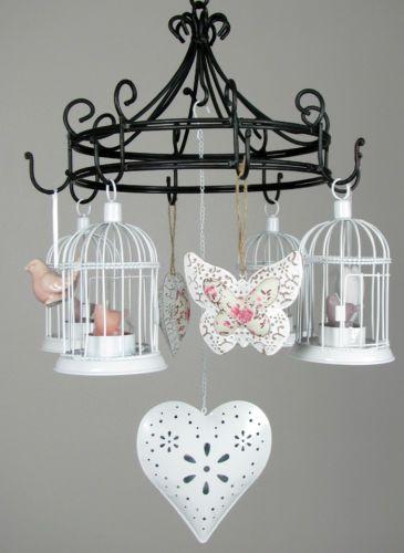 h ngekranz h ngeleuchter nostalgie 19 mit 4 teelichtern vogelk fig deko ebay deko. Black Bedroom Furniture Sets. Home Design Ideas